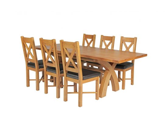 Country Oak 230cm Cross Leg Square Table and 6 Grasmere Brown Leather Chairs