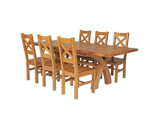 Country Oak 230cm Cross Leg Square Table and 6 Windermere Timber Seat Chairs