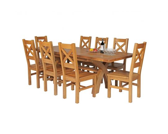 Country Oak 230cm Cross Leg Square Table and 8 Windermere Timber Seat Chairs