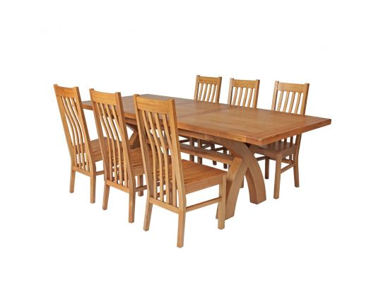 Country Oak 230cm Cross Leg Square Table and 6 Chelsea Timber Seat Chairs