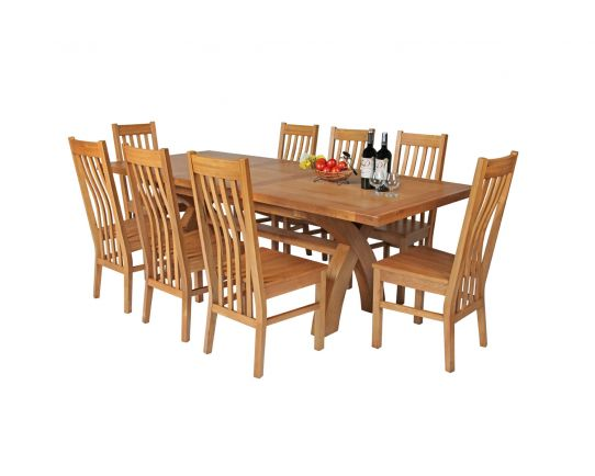 Country Oak 230cm Cross Leg Square Table and 8 Chelsea Timber Seat Chairs