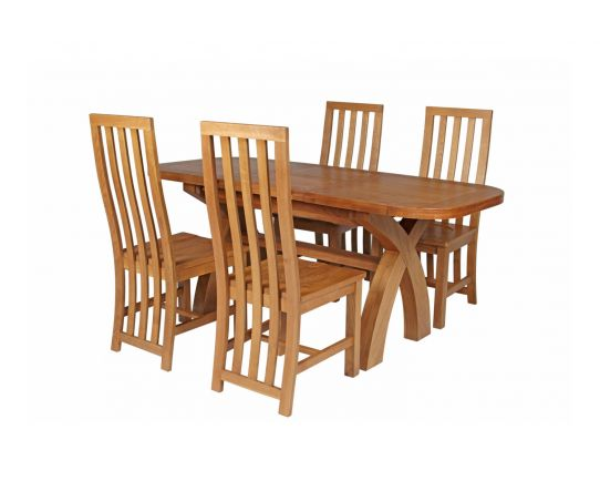 Country Oak 180cm Extending Cross Leg Oval Table and 4 Dorchester Timber Seat Chairs