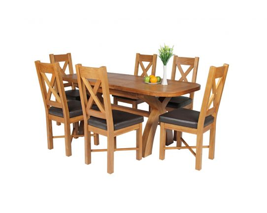 Country Oak 180cm Extending Cross Leg Oval Table and 6 Grasmere Brown Leather Chairs