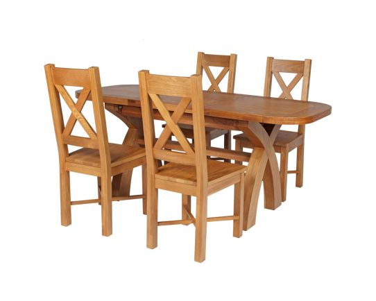 Country Oak 180cm Extending Cross Leg Oval Table and 4 Grasmere Timber Seat Chairs