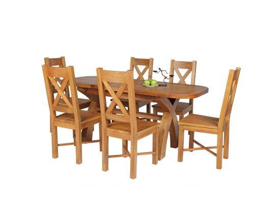 Country Oak 180cm Extending Cross Leg Oval Table and 6 Grasmere Timber Seat Chairs