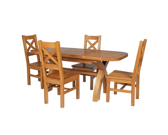 Country Oak 180cm Extending Cross Leg Oval Table and 4 Windermere Timber Seat Chairs