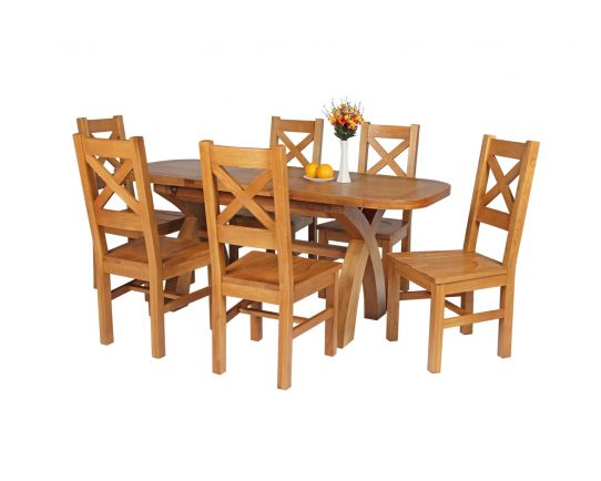 Country Oak 180cm Extending Cross Leg Oval Table and 6 Windermere Timber Seat Chairs