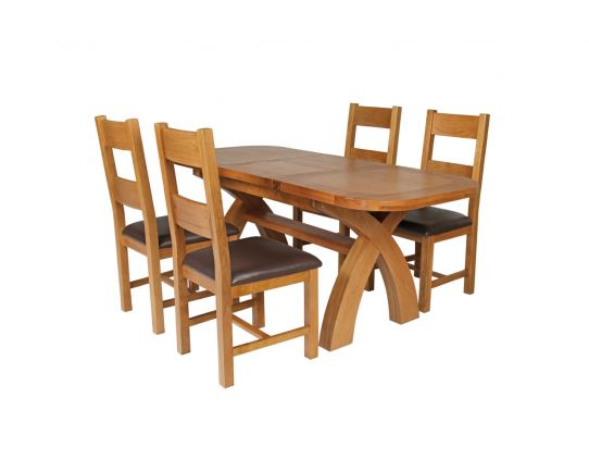 Country Oak 180cm Extending Cross Leg Oval Table and 4 Chester Brown Leather Chairs