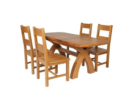 Country Oak 180cm Extending Cross Leg Oval Table and 4 Chester Timber Seat Chairs