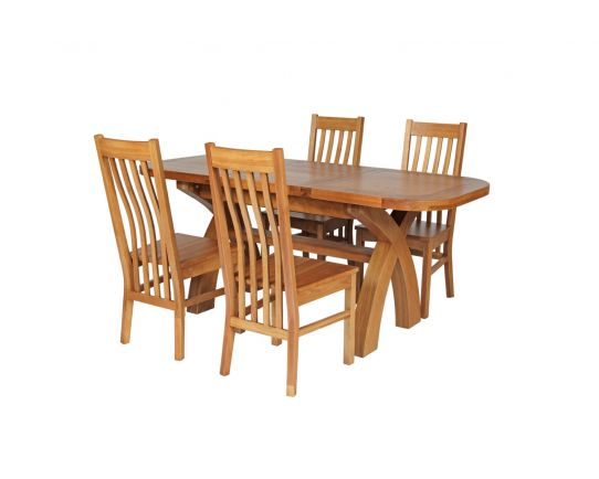 Country Oak 180cm Extending Cross Leg Oval Table and 4 Chelsea Timber Seat Chairs
