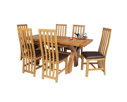 Country Oak 180cm Extending Cross Leg Square Table and 6 Dorchester Brown Leather Chairs