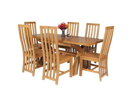 Country Oak 180cm Extending Cross Leg Square Table and 6 Dorchester Timber Seat Chairs