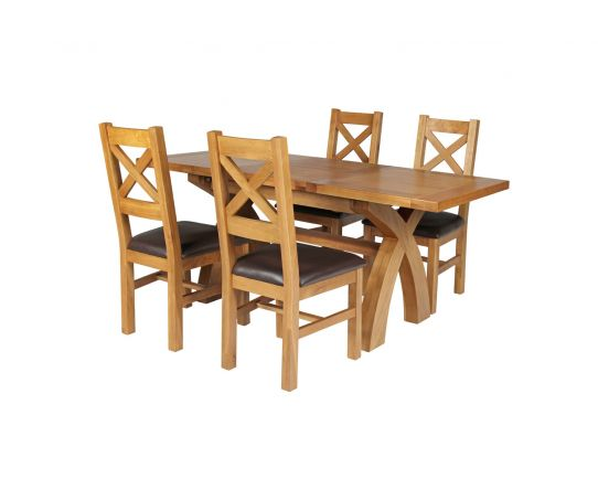 Country Oak 180cm Extending Cross Leg Square Table and 4 Windermere Brown Leather Chairs