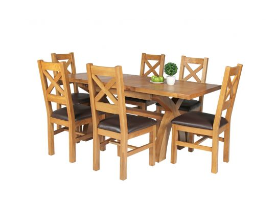 Country Oak 180cm Extending Cross Leg Square Table and 6 Windermere Brown Leather Chairs