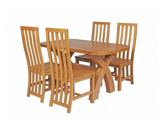 Country Oak 140cm Cross Leg Fixed Oval Table and 4 Dorchester Timber Seat Chairs