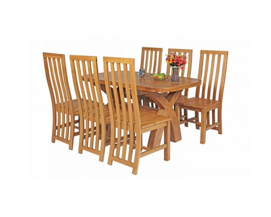 Country Oak 140cm Cross Leg Fixed Oval Table and 6 Dorchester Timber Seat Dining Chairs