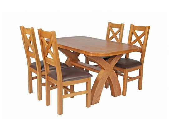 Country Oak 140cm Cross Leg Fixed Oval Table and 4 Windermere Brown Leather Chairs
