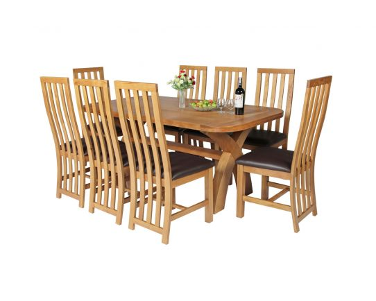 Country Oak 180cm Cross Leg Fixed Oval Table and 8 Dorchester Brown Leather Chairs