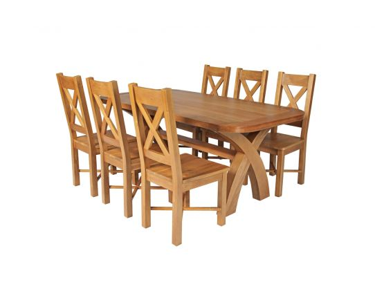 Country Oak 180cm Cross Leg Fixed Oval Table and 6 Grasmere Timber Seat Chairs