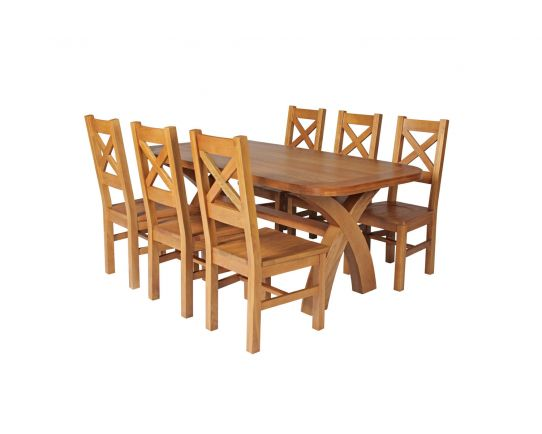 Country Oak 180cm Cross Leg Fixed Oval Table and 6 Windermere Timber Seat Chairs