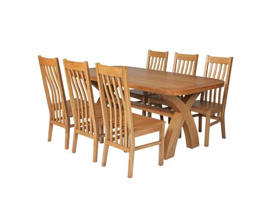 Country Oak 180cm Cross Leg Fixed Oval Table and 6 Chelsea Timber Seat Chairs