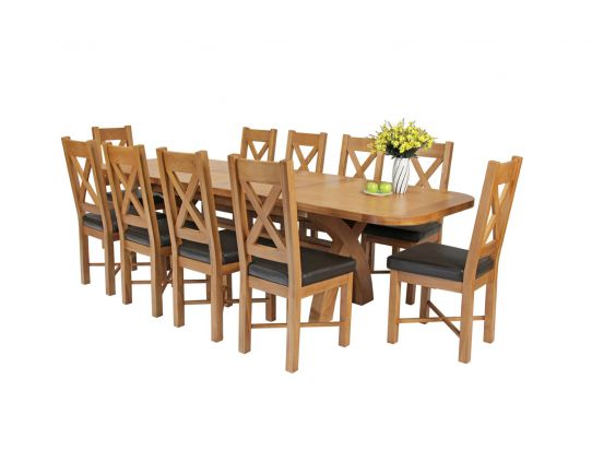 Country Oak 280cm Extending Cross Leg Oval Table and 10 Grasmere Brown Leather Chairs