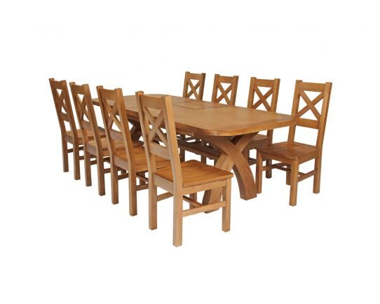 Country Oak 280cm Extending Cross Leg Oval Table and 8 Windermere Timber Seat Chairs
