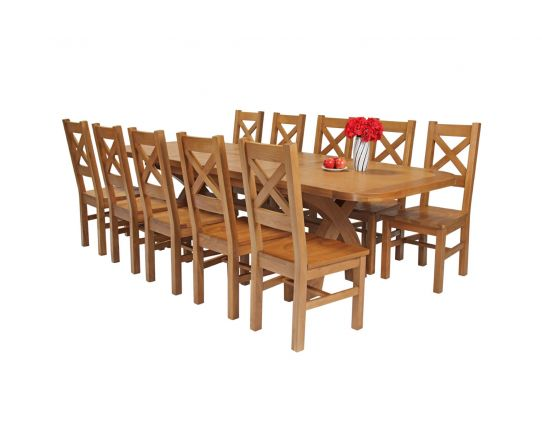 Country Oak 280cm Extending Cross Leg Oval Table and 10 Windermere Timber Seat Chairs