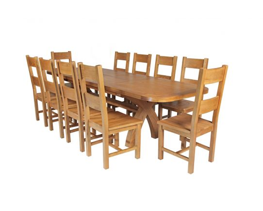 Country Oak 280cm Extending Cross Leg Oval Table and 10 Chester Timber Seat Chairs