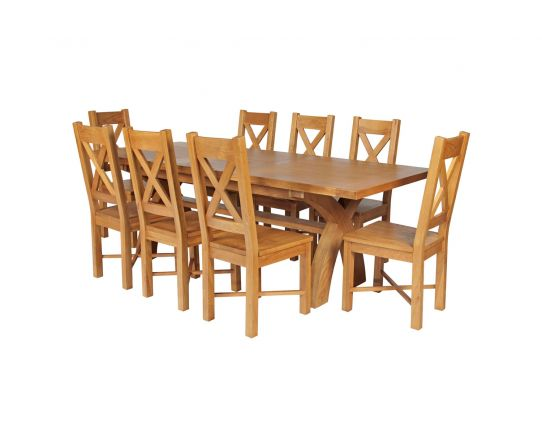 Country Oak 280cm Extending Cross Leg Square Table and 8 Grasmere Timber Seat Chairs