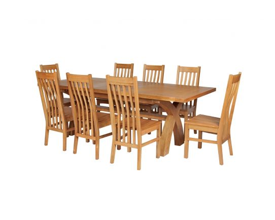 Country Oak 280cm Extending Cross Leg Square Table and 8 Chelsea Timber Seat Chairs
