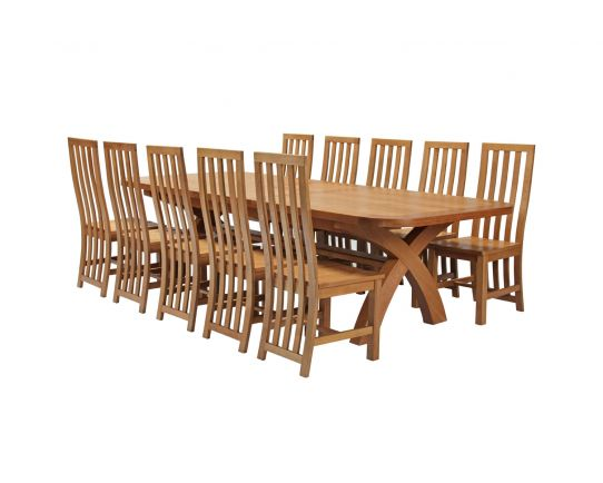 Country Oak 340cm Extending Cross Leg Oval Table and 10 Dorchester Timber Seat Chairs