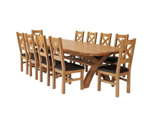 Country Oak 340cm Extending Cross Leg Oval Table and 10 Windermere Brown Leather Chairs
