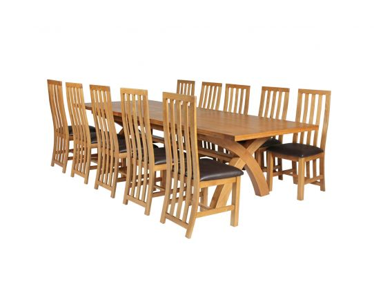Country Oak 340cm Extending Cross Leg Square Table and 10 Dorchester Brown Leather Chairs