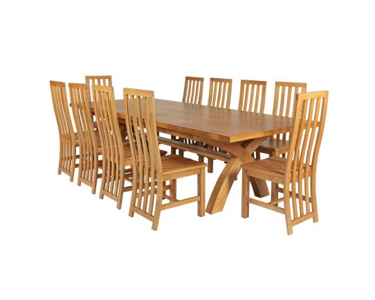 Country Oak 340cm Extending Cross Leg Square Table and 10 Dorchester Timber Seat Chairs