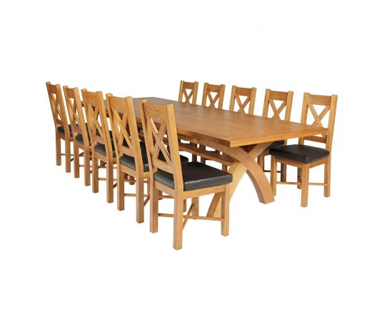 Country Oak 340cm Extending Cross Leg Square Table and 10 Grasmere Brown Leather Chairs