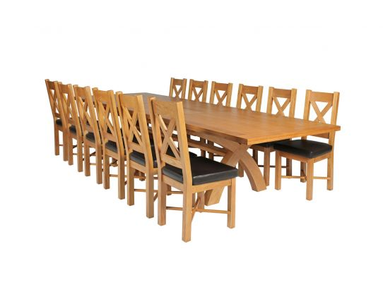 Country Oak 340cm Extending Cross Leg Square Table and 12 Grasmere Brown Leather Chairs