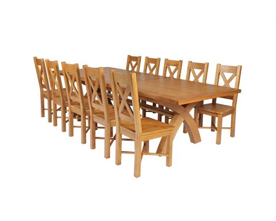 Country Oak 340cm Extending Cross Leg Square Table and 10 Grasmere Timber Seat Chairs