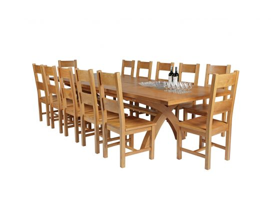 Country Oak 340cm Extending Cross Leg Square Table and 12 Chester Timber Seat Chairs