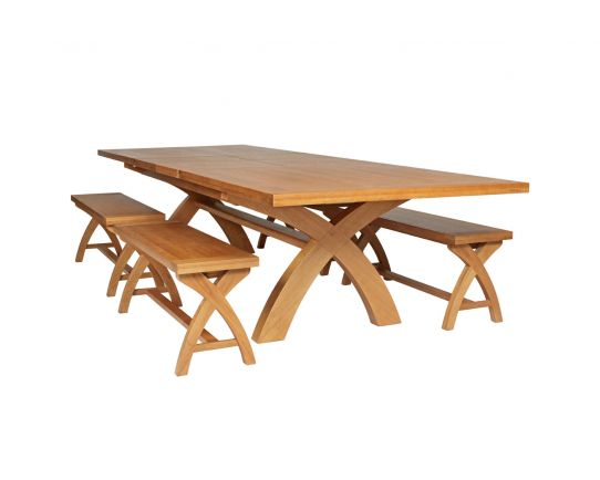 Country Oak 340cm Extending Cross Leg Table and 4 120cm Cross Leg Bench Set