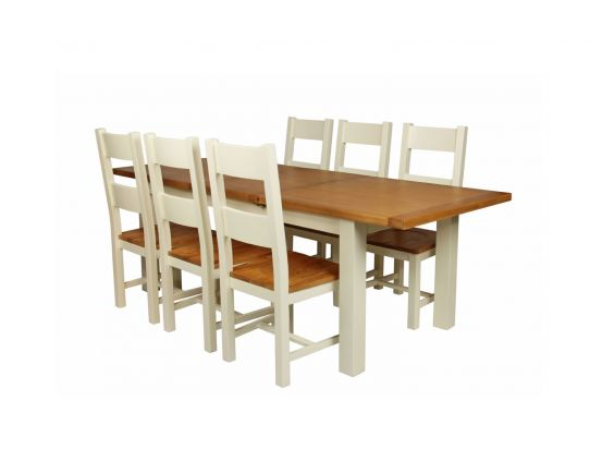 Country Oak 230cm Cream Painted Extending Dining Table and 6 Chester Ladder Back Cream Painted Chairs