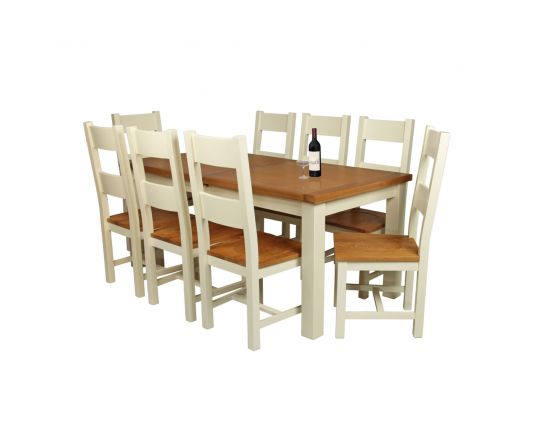 Country Oak 230cm Cream Painted Extending Dining Table and 8 Chester Ladder Back Cream Painted Chairs