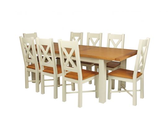 Cream painted oak table 8 matching cream painted oak chairs set