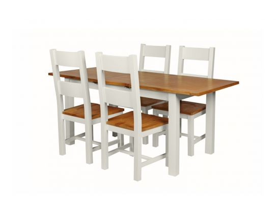 Country Oak 180cm Grey Painted Extending Dining Table and 4 Chester Ladder Back Grey Painted Chairs