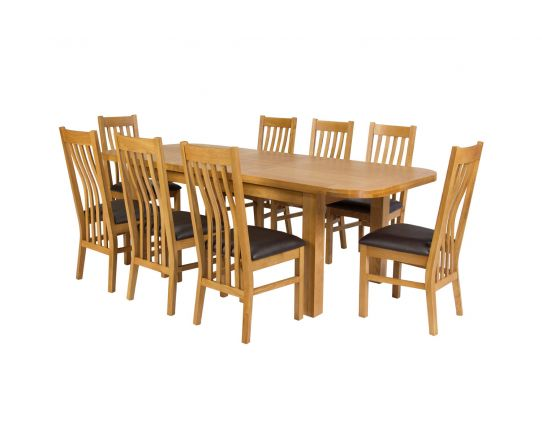 Country Oak 280cm Extending Oak Oval Table and 8 Chelsea Brown Leather Chairs