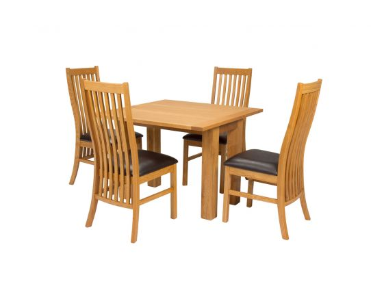 Lichfield Flip Top 100cm 50cm Oak Table 4 Lichfield Brown Leather Oak Chair Set - SUMMER SALE
