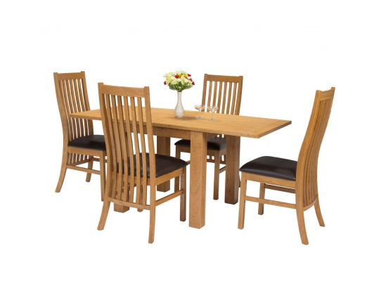 Lichfield Flip Top 80cm to 160cm Oak Table 4 Lichfield Brown Leather Oak Chair Set