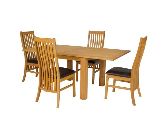 Flip Top 90cm 180cm Extending Oak Table 4 Lichfield Brown Leather Chair Set