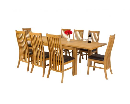 Lichfield 240cm Double Extending Table 8 Lichfield Brown Leather Chair Set