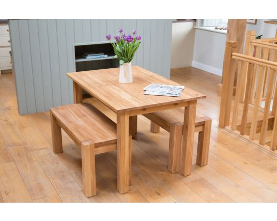 Oak Bench Dining Set Minsk 1.2m Solid Oak Table and 2 95cm Baltic Corner Leg Benches